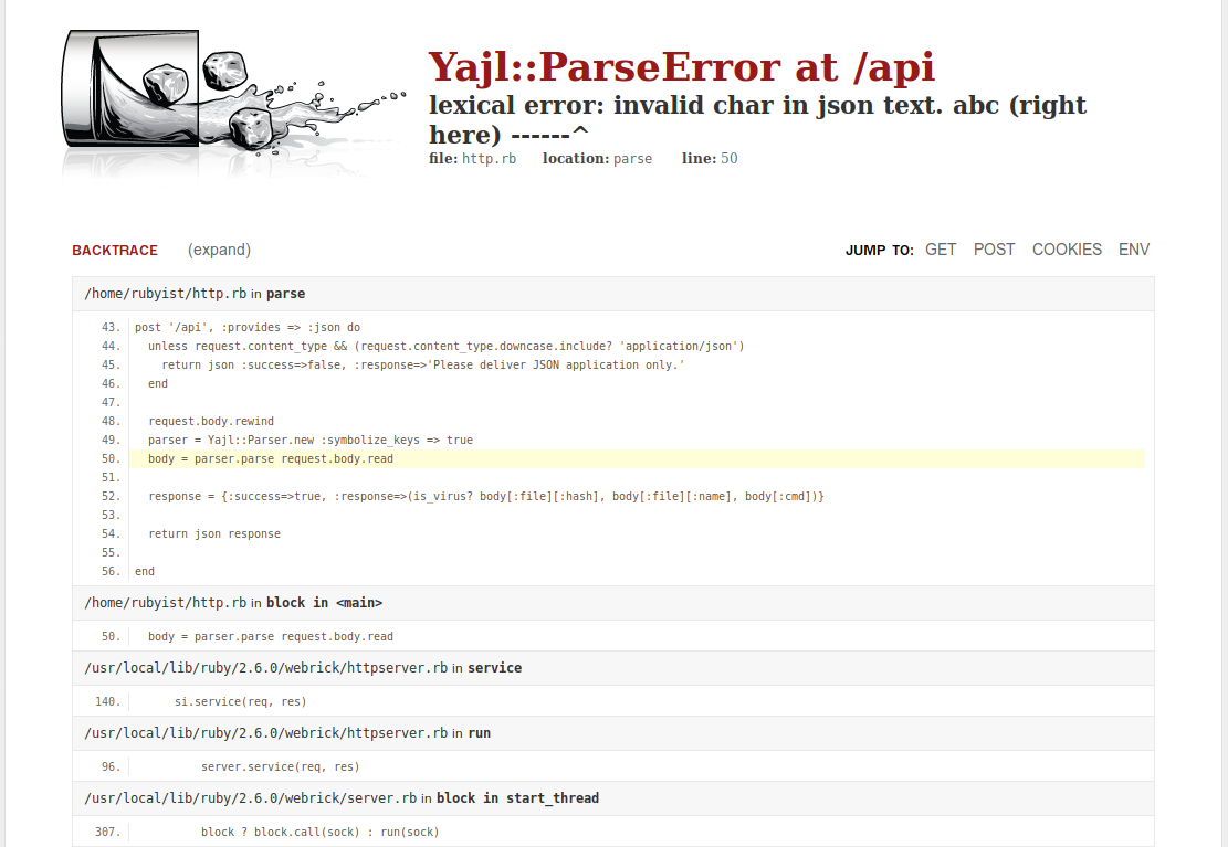 Virus Express parse error
